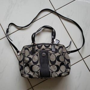 Coach stripe satchel purse bag black and silver